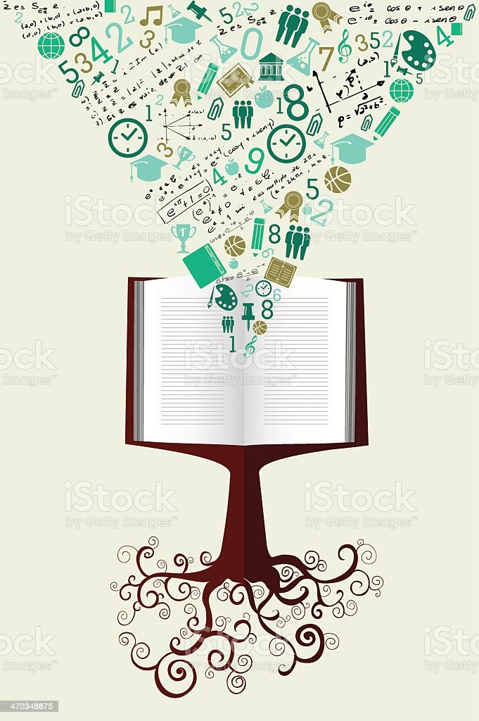 Education concept book tree background royalty-free stock vector art