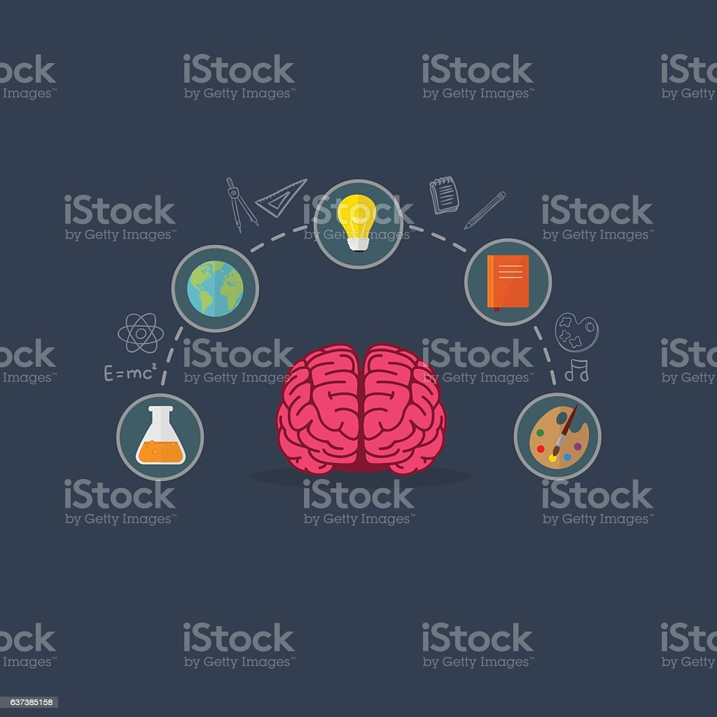 Education Concept, Brain Illustation vector art illustration
