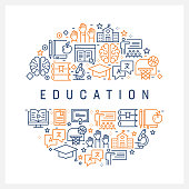 Education Concept - Colorful Line Icons, Arranged in Circle