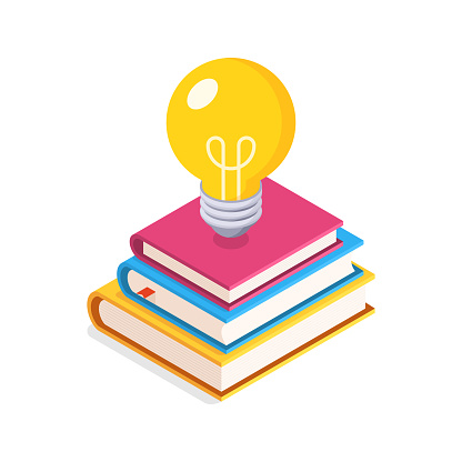Education Concept. Flat, Isometric illustration with Lightbulb and Stack of Books.