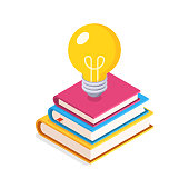 istock Education Concept. Flat, Isometric illustration with Lightbulb and Stack of Books. 1152872650
