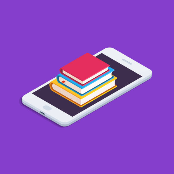education concept. flat, isometric illustration with smartphone and stack of books. - e-learning not icons stock illustrations