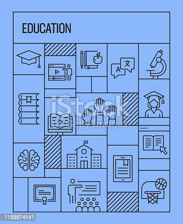 Education Concept. Geometric Retro Style Banner and Poster Concept with Education Line Icons