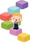 Vector illustration - Education concept: Kid holding pencil and book on Learning step.