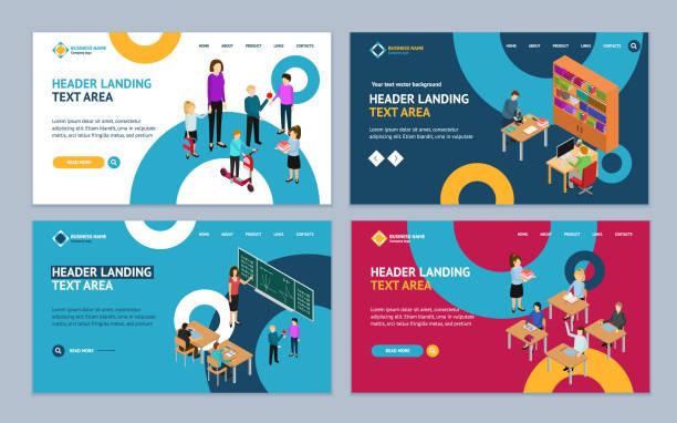 illustrazioni stock, clip art, cartoni animati e icone di tendenza di education concept landing web page template set 3d isometric view. vector - young digital