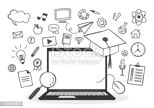 istock Education concept. Laptop with blank screen. Hand-drawn element educational. Line doodle. Cartoon style. Vector illustration. 1223316872