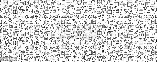 STEM Education Concept Seamless Pattern and Background with Line Icons