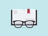Eyeglasses in front of an open book. Flat design style.