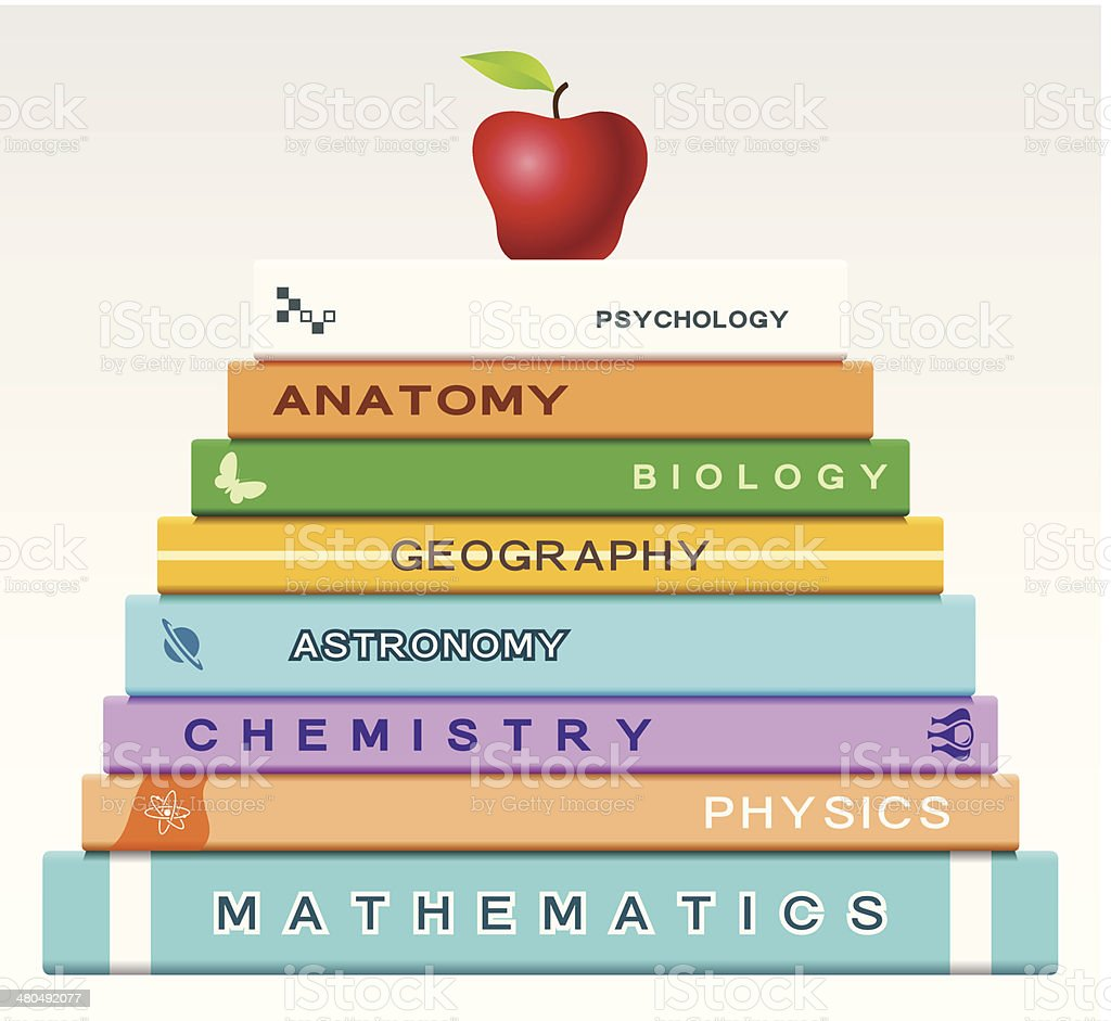 Education concept with books and apple vector art illustration