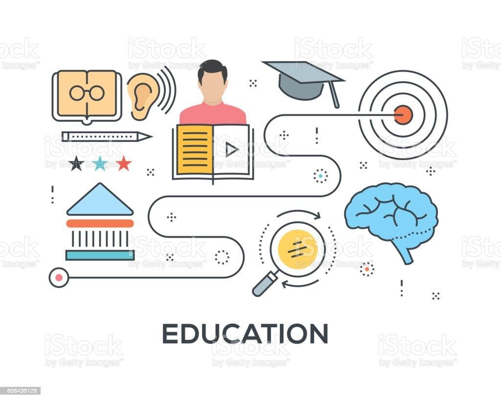 Concepto de educación con los iconos - ilustración de arte vectorial