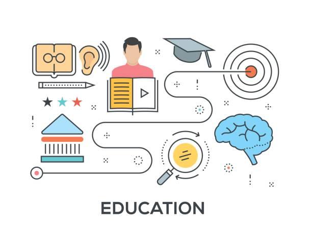 ilustraciones, imágenes clip art, dibujos animados e iconos de stock de concepto de educación con los iconos - consejero de la escuela