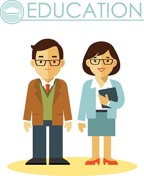 illustrations, cliparts, dessins animés et icônes de concept de l'éducation avec des enseignants profession - professeur d'université