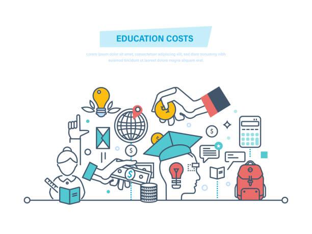 illustrazioni stock, clip art, cartoni animati e icone di tendenza di education cost concept. invest money in education, study cash - banchi scuola