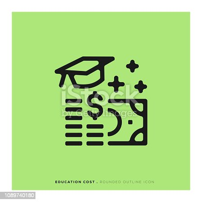 istock Education Cost Rounded Line Icon 1089740180