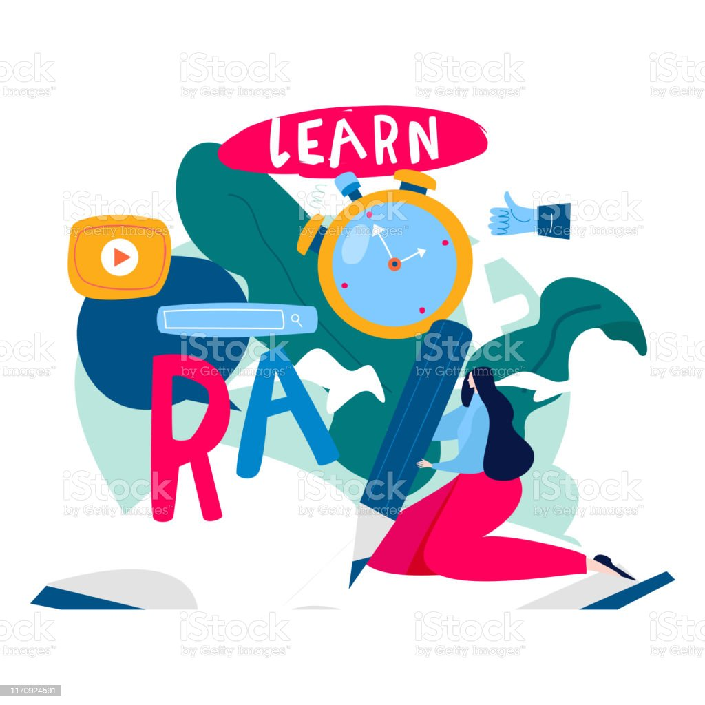 Education, distance education, internet studying, e-learning flat...