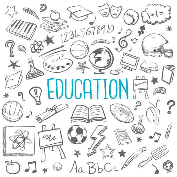 Education doodle icons Education doodle sketches and icons book backgrounds stock illustrations