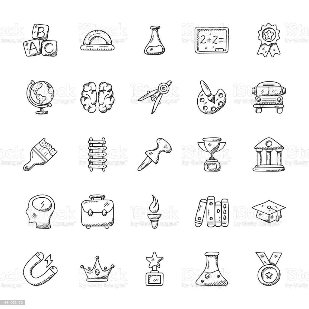 Education Doodle Vector Icons Set - Royalty-free Archives stock vector