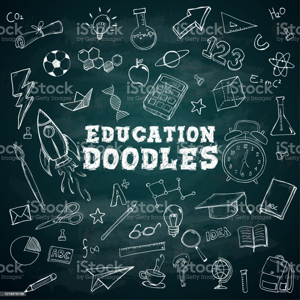 Education Doodles Text School Stationary Doodles Bundle Pack on Blackboard - Royalty-free Australia stock vector