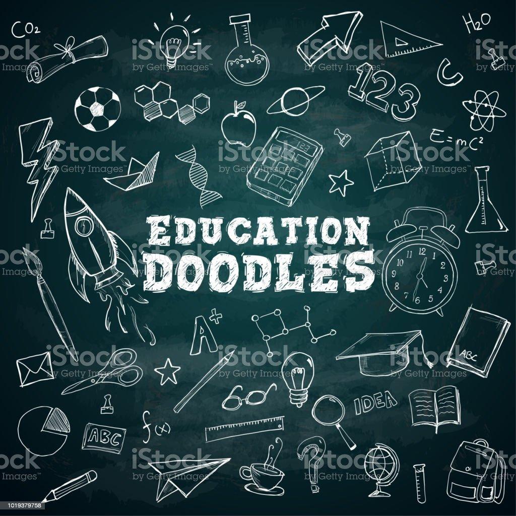 Doodles texte école stationnaire Doodles Bundle Pack sur tableau noir - Illustration vectorielle