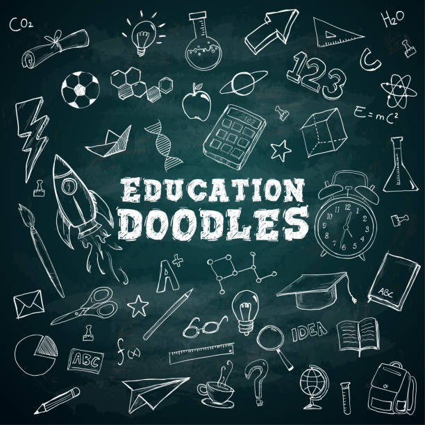 education doodles text school stationary doodles bundle pack on blackboard - school stock illustrations