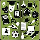 Education doodles in sketchbook,