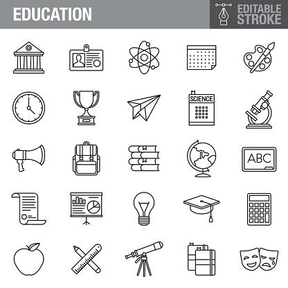 Education Editable Stroke Icon Set