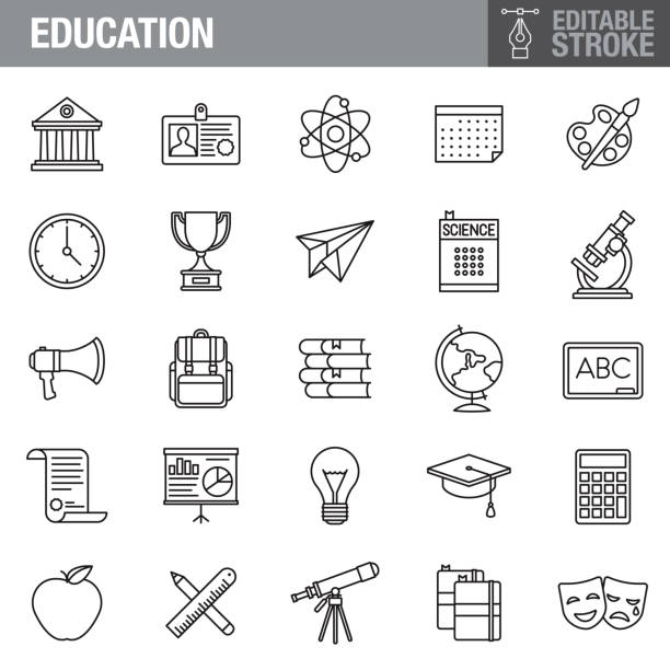 Education Editable Stroke Icon Set A set of editable stroke thin line icons. File is built in the CMYK color space for optimal printing. The strokes are 2pt and fully editable: Make sure that you set your preferences to 'Scale strokes and effects' if you plan on resizing! book clipart stock illustrations