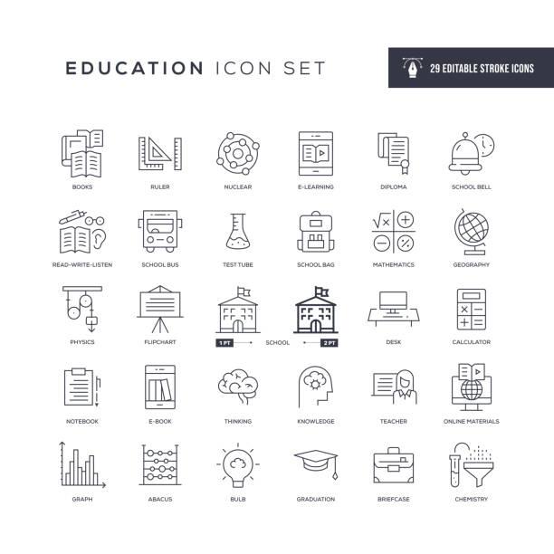 illustrazioni stock, clip art, cartoni animati e icone di tendenza di icone della linea di tratti modificabili per l'istruzione - scuola