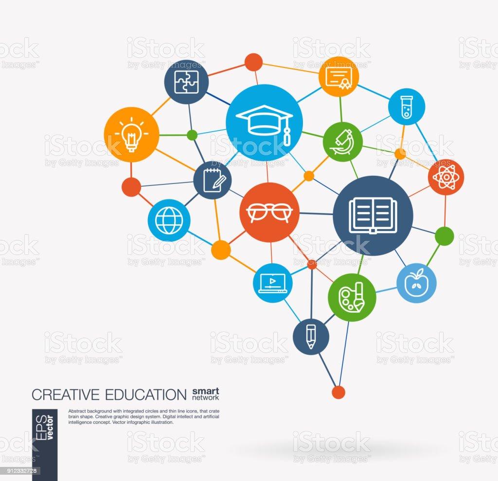 Education, elearning, graduation and school integrated business vector line icon set. Digital mesh smart brain idea. Futuristic interact neural network grid connect. vector art illustration