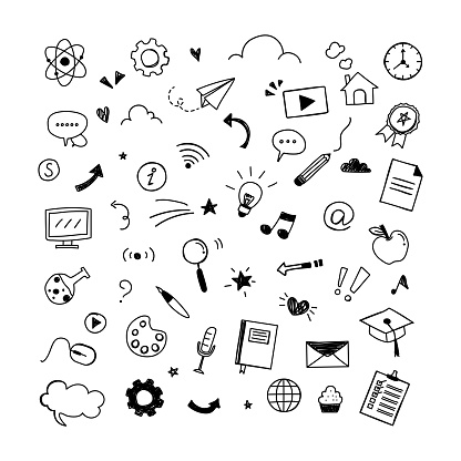 Education elements. Set of learning hand-drawn design on white background. Icons doodle line for your graphic. Cartoon style.  Vector illustration.