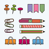 Education elements set. Flat vector design