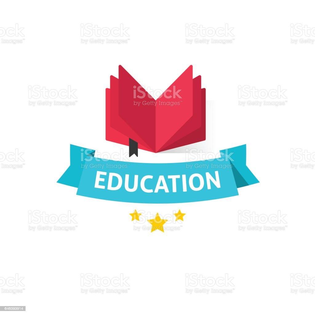 Bildung-Emblem-Vektor-Illustration, offenes Buch mit Bildung Text am blauen Band – Vektorgrafik