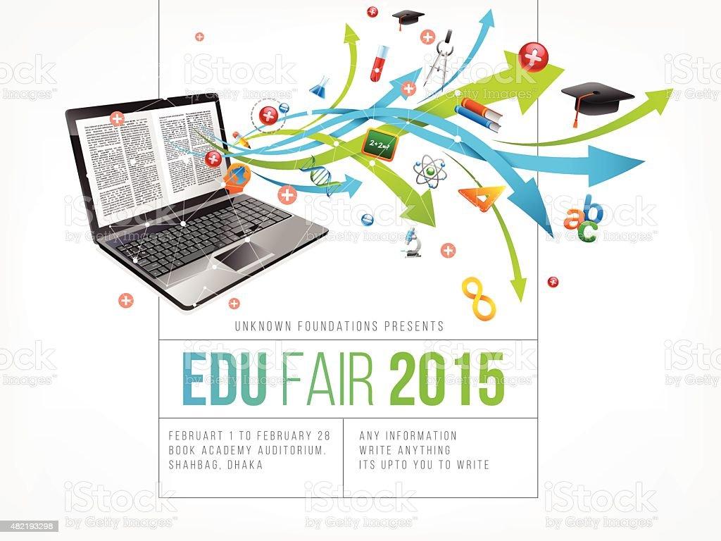 Education fair poster design vector art illustration