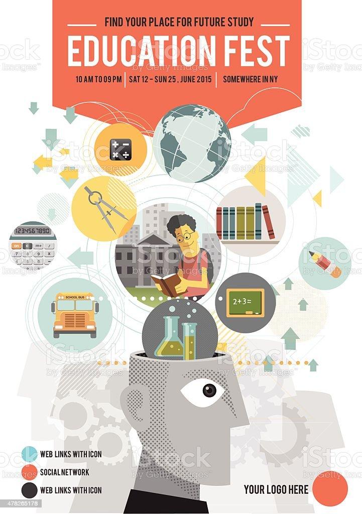 Education fest poster vector art illustration