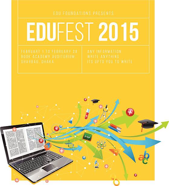 Education festival poster Education festival poster. college fair stock illustrations