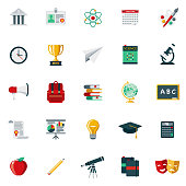 A set of 25 education flat design icons on a transparent background. File is built in the CMYK color space for optimal printing. Color swatches are Global for quick and easy color changes.