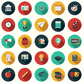 A set of flat design styled education icons with a long side shadow. Color swatches are global so it's easy to edit and change the colors.