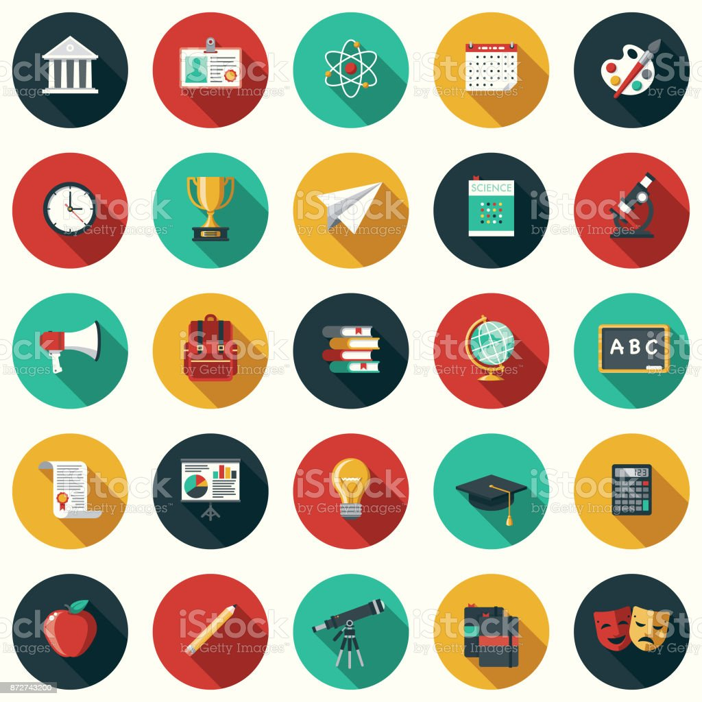Conjunto de ícones de Design plano de educação com sombra do lado - ilustração de arte em vetor