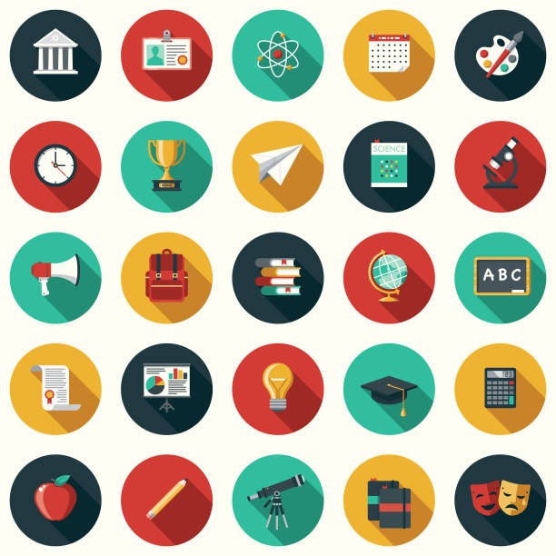 education flat design icon set with side shadow - education icons stock illustrations, clip art, cartoons, & icons