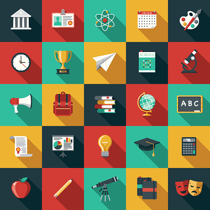 Education Flat Design Icon Set with Side Shadow
