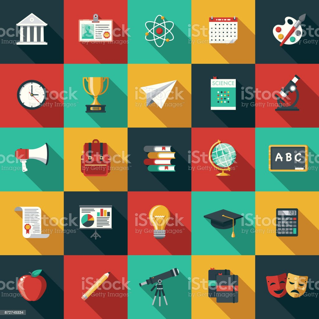 Education Flat Design Icon Set with Side Shadow vector art illustration