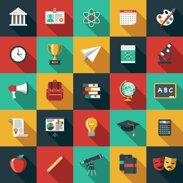 education flat design icon set with side shadow - university stock illustrations, clip art, cartoons, & icons
