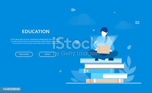 Education - flat design style colorful web banner on blue background with copy space for your text. Composition with a female student sitting on a big pile of books, working at the computer, laptop