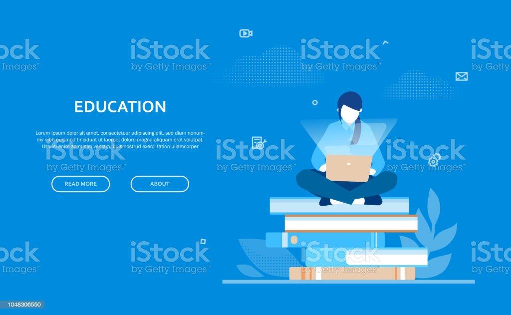 Education - bannière coloré design plat style - Illustration vectorielle