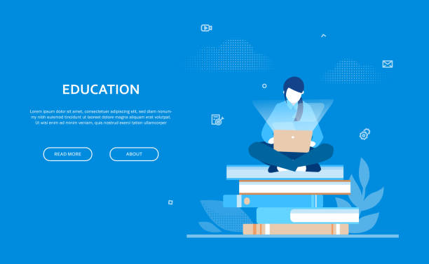 Education - flat design style colorful web banner Education - flat design style colorful web banner on blue background with copy space for your text. Composition with a female student sitting on a big pile of books, working at the computer, laptop students stock illustrations