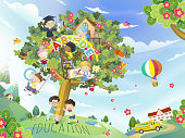 Education flat design, lovely children playing in the pen tree