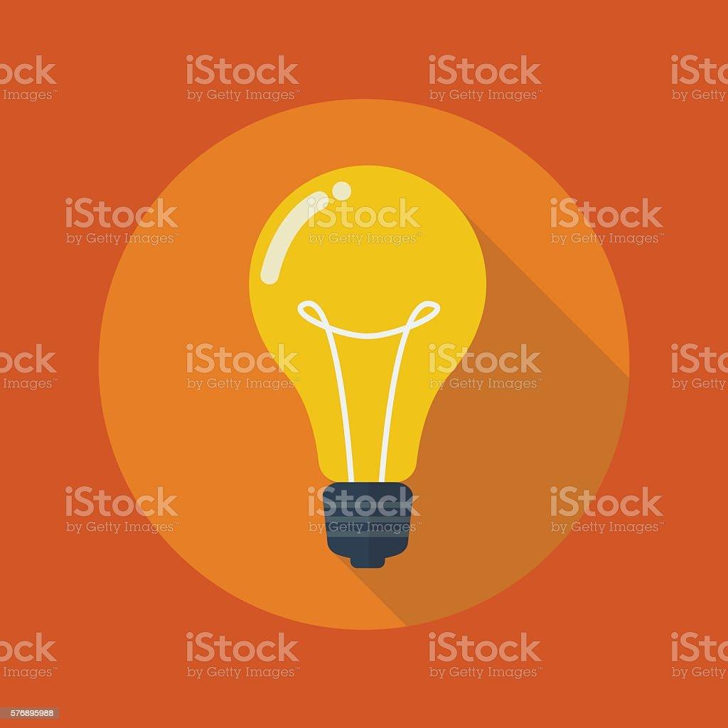 Education Flat Icon. Light Bulb vector art illustration
