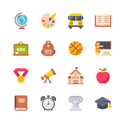 Education Flat Icons. Material Design Icons. Pixel Perfect. For Mobile and Web. Contains such icons as Painting, School Bus, Teaching, Sport, Book, School Building, Elementary Education.