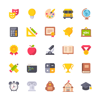 Education Flat Icons. Material Design Icons. Pixel Perfect. For Mobile and Web. Contains such icons as Painting, School Bus, Teaching, Sport, Book, School Building, Elementary Education, Apple, Backpack, Math.
