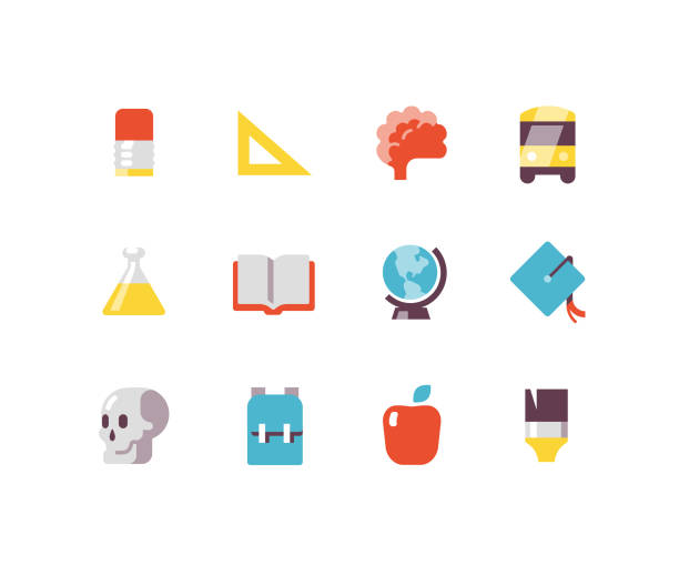 Education Flat icons Educational school icons including brain, school bus, pencil, graduation hat right angle stock illustrations